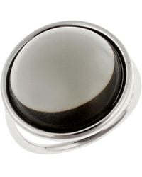 CALVIN KLEIN 205W39NYC - Women's Stainless Steel With Transparent Gray Round Onyx Stone Ring - Lyst