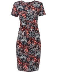 Therapy Leaf Print Knot Front Jersey Dress - Lyst