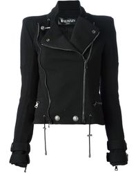 Balmain Quilted Panel Bikerstyle Jacket - Lyst