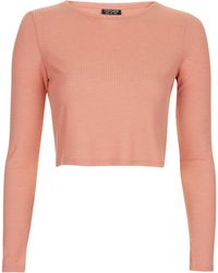 Topshop Long Sleeve Skinny Ribbed Crop Top - Lyst