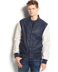 American Rag Faux Leather Varsity Jacket - Lyst