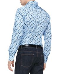 Etro Smallpaisley Printed Poplin Shirt - Lyst