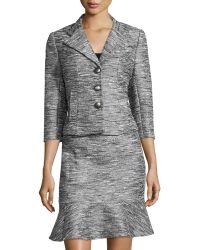 Kay Unger - Metallic Jacquard 3/4-sleeve Skirt Suit - Lyst