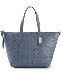 Coach Perforated Leather Tote - Lyst
