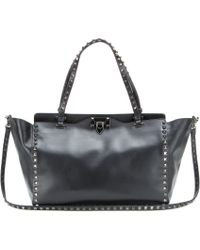 Valentino Rockstud Noir Leather Tote - Lyst