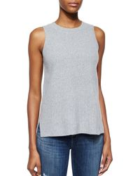 J Brand Ribbed Knit Sleeveless Top - Lyst