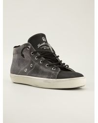 Leather Crown Checkered Midtop Sneakers - Lyst
