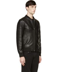 Surface To Air - Black Nappa Leather 3d Bomber Jacket - Lyst