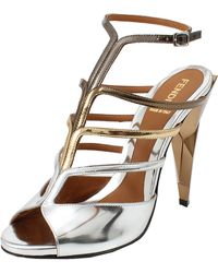 Fendi Strappy Metallic Diamond Sandal - Lyst