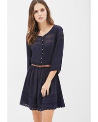 Forever 21 Belted Crochet-Paneled Peasant Dress - Lyst