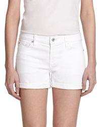 7 For All Mankind Cuffed Denim Shorts - Lyst