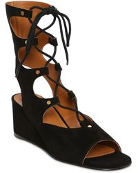 Chloé 50Mm Suede Gladiator Wedge Sandals - Lyst