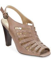 Adrienne Vittadini Gentri Studded Leather Pumpstaupe - Lyst