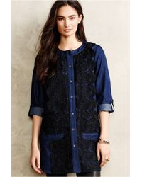 Anna Sui Laced Chambray Tunic - Lyst