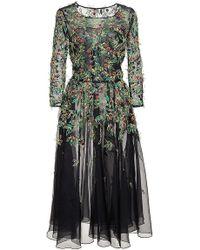 Oscar de la Renta Black Silk Embellished Tulle Dress - Lyst