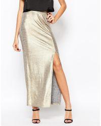 First & I | Metallic Side Split Maxi Skirt | Lyst