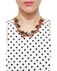 Carole Tanenbaum - 1950S Unsigned Burnished Gold Necklace With Rhinestones And Glass Coral Drops - Lyst