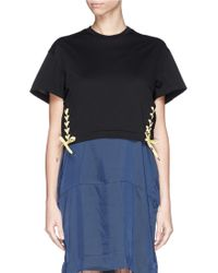 Toga Archives Bow Side Cotton Piqué Cropped T-Shirt - Lyst