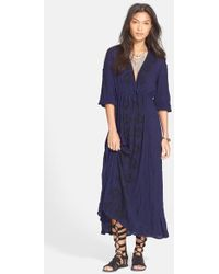 Free People Embroidered Gauze Dress blue - Lyst