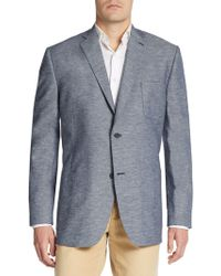 Saks Fifth Avenue Black Label - Slim-fit Cotton/linen Chambray Sportcoat - Lyst
