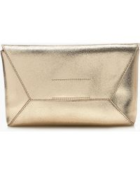 J.Crew - Leather Envelope Clutch In Crackled Gold Foil - Lyst