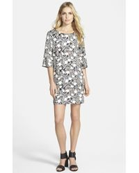 Ella Moss Blossom Print Shift Dress black - Lyst