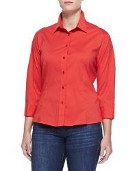Carolina Herrera 34sleeve Button Shirt - Lyst