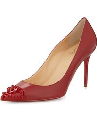 Christian Louboutin Spiked Cap-toe Red Sole Pump - Lyst