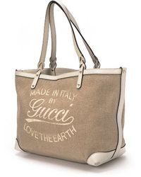 Gucci Pre-Owned Love The Earth Tote Bag beige - Lyst