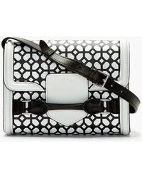 Alexander McQueen Black and White Leather Heroine Shoulder Bag - Lyst