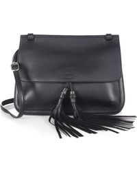 Gucci Bamboo Daily Leather Flap Shoulder Bag black - Lyst
