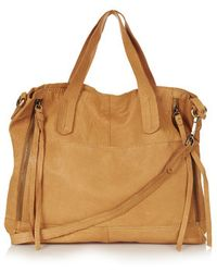 Topshop Slouchy Leather Shoulder Bag - Lyst