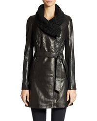 Elie Tahari Leather Knit Collar Coat - Lyst
