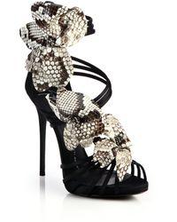 Giuseppe Zanotti Satin & Snakeskin Flower Sandals black - Lyst
