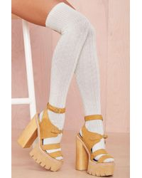 Nasty Gal High and Fly Socks  Ivory - Lyst