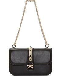 Valentino Black Leather Studded Medium Shoulder Bag - Lyst