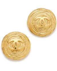 What Goes Around Comes Around Vintage Chanel Twisted Nest Cc Earrings - Gold - Lyst