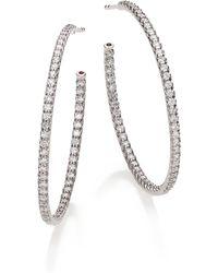 Roberto Coin Diamond & 18K White Gold Inside-Outside Hoop Earrings/1.4 - Lyst