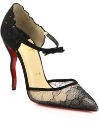 Christian Louboutin | Magicadiva Lace & Suede & Lace Pumps | Lyst