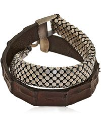 Laura B - Silver Plated Brass & Leather Bracelet - Lyst