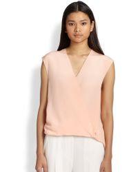 3.1 Phillip Lim Silk Draped Crossover Blouse - Lyst