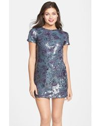 Dress the Population Print Sequin Shift Dress - Lyst