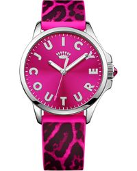 Juicy Couture Womens Jetsetter Black and Hot Pink Leopard Silicone Strap Watch 38mm - Lyst
