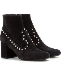 Saint Laurent Embellished Suede Ankle Boots - Lyst