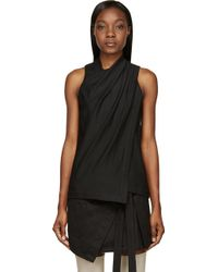 Helmut Lang Black Crepe Draped_Front Ascend Blouse - Lyst