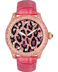 Betsey Johnson - Womens Pink Croc Embossed Leather Strap 41mm 29 - Lyst
