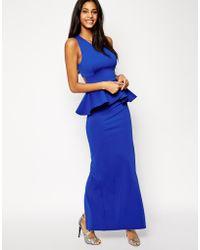 Asos Bonded Peplum Jersey Maxi Dress - Lyst
