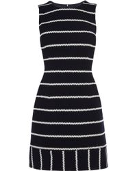 Karen Millen Navy And White Honeycombe Striped Jersey Dress - Lyst