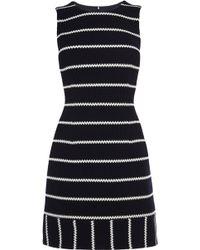Karen Millen Honeycomb Striped Jersey Dress blue - Lyst