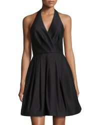 Halston Sleeveless Pleated Halter Dress - Lyst